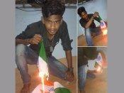రోహిత్, మెడికోల ఆత్మహత్య: జాతీయ జెండాను తగలబెట్టిన యువకుడు, ఫిర్యాదు