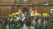 బీజేపీపై రూ.2,500 కోట్ల స్కాం : సీబీఐ విచారణకు ఆప్: అధికార పక్షంలో ఉంటూ అసెంబ్లీలో ధర్నా