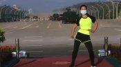 Video Viral:ఓ వైపు మహిళ ఏరోబిక్స్.. మరో వైపు సైనిక చర్య: ఏమీ పట్టనట్లుగా..!