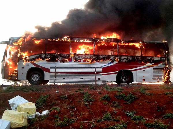 volvo bus catches fire, passengers escape unhurt