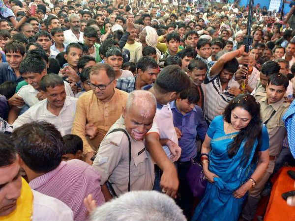 Hema Malini Mobbed During Rally Rescues Boys Caught Crowd