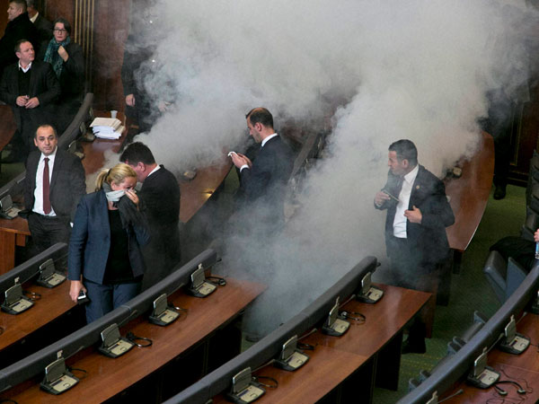 Kosovo Opposition Lawmakers Release Tear Gas in Parliament