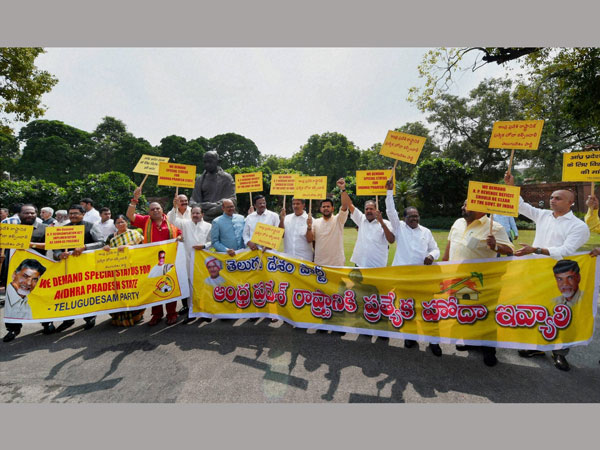 TDP MPs Protest at Lok Sabha Over AP Special Status Issue on Tuesday