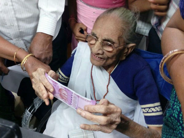 Demonetisation: PM Modi's mother exchanges currency for Rs 4,500
