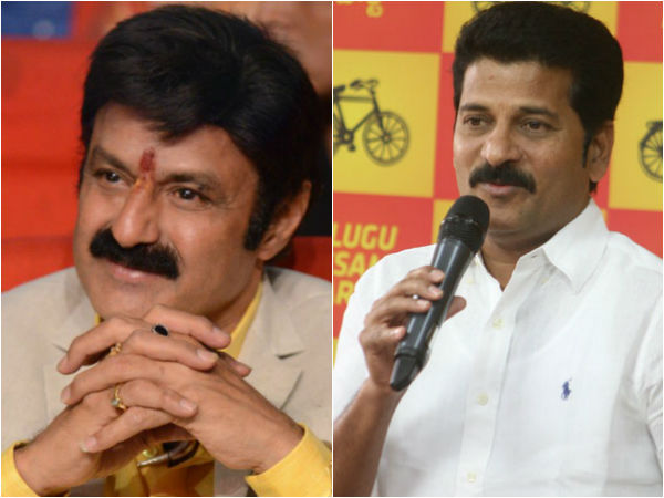 Balakrishna with Revanth Reddy in TDLP office.