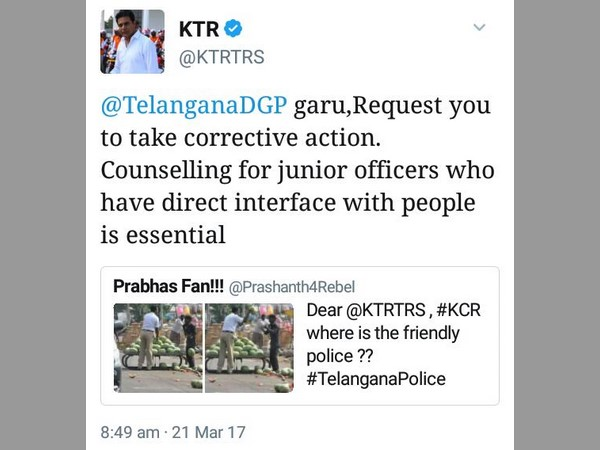 Traffic Police Over Action.. Minister KTR Responds in Twitter