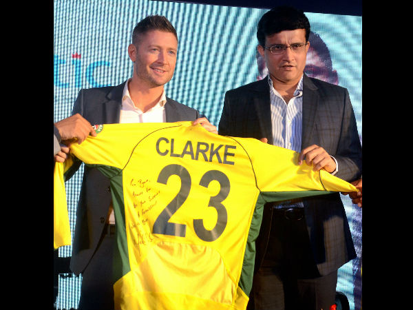 Michael Clarke donates his World Cup winning jersey at the launch of his autobiography