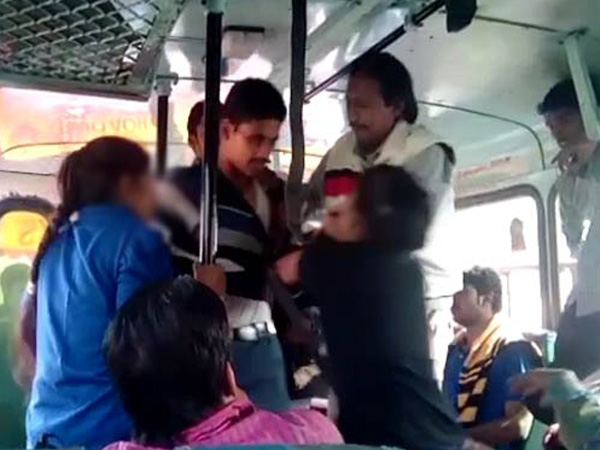 a man sexual harassment on girls in college bus
