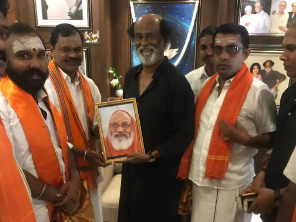 Hindu Makkal Katchi Leader Arjun Sampath Met Actor Rajinikanth In His Poes Garden