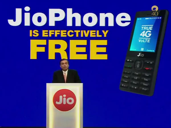 Jio Phone, Free With Rs. 1,500 Deposit, Unlimited 4G Data, Launched by Mukesh Ambani at Reliance AGM