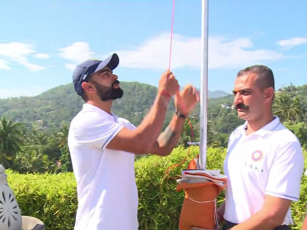 Indian Cricket Team Hoists Tricolour Kandy Celebrate Independence Day