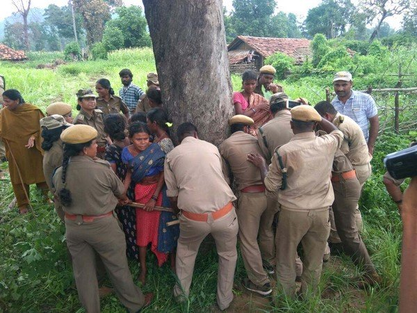 Forest Staff Overcharge: They set Tribal huts on Fire by tying up Tribal Women to a Tree