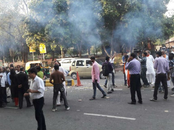 Ban On Crackers Protesters Burst Crackers Outside Supreme C