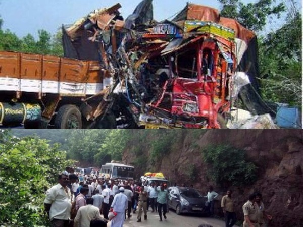 lorry accident in nallamala ghat road