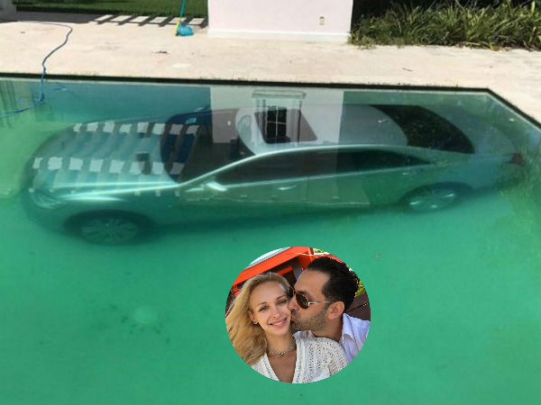 Jilted girlfriend of prominent US banker dumps his Mercedes into swimming pool