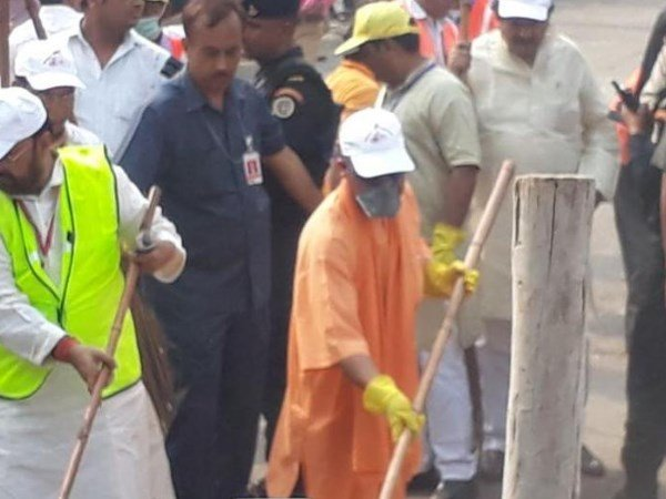 UP Chief Minister Yogi Leads Cleanliness Drive Outside Taj Mahal