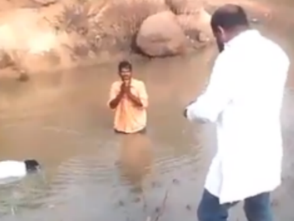 BJP leader beats 2 Dalits with stick, forces them to dip in muddy pond