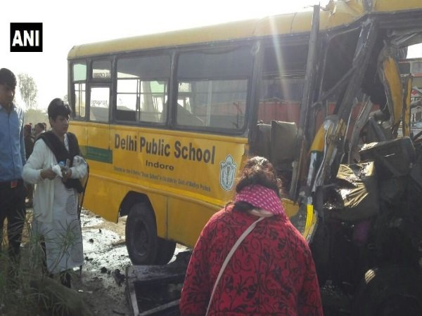 Six Kids Driver Killed As Dps School Bus Collides With Truck In Indore