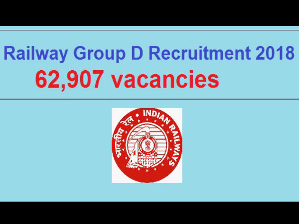 RRB recruitment 2018 apply for 62907 Group D Posts.