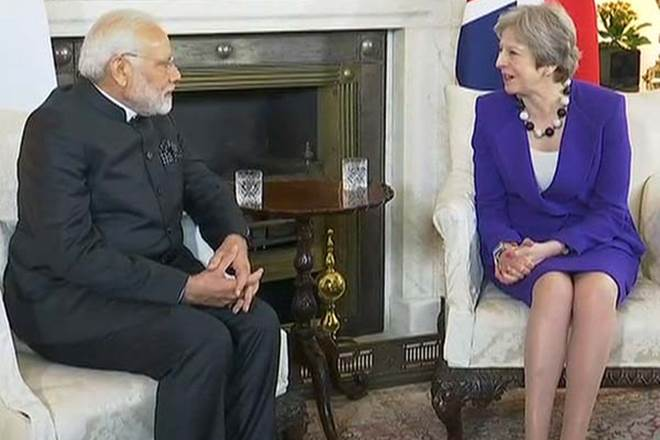 Prime Minister Narendra Modi British Pm Theresa Hold Talks