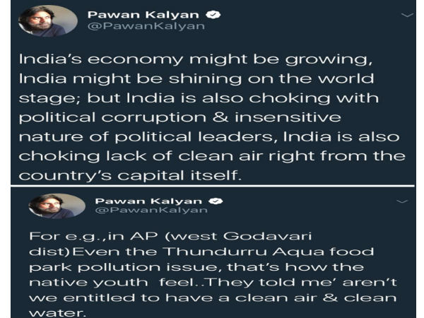 Pawan Kalyan tweets about political situations in the country