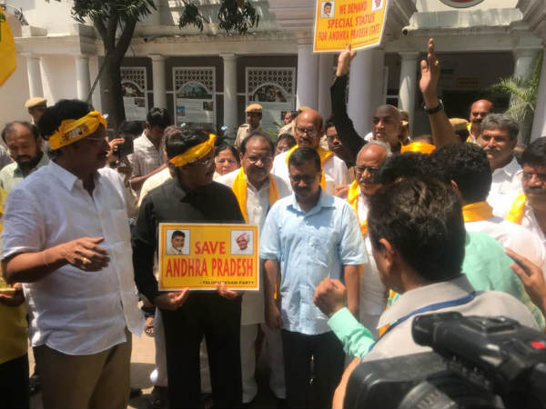 Tdp Lawmakers Detained Near Pm S Residence Arvind Kejriwal Visits Them