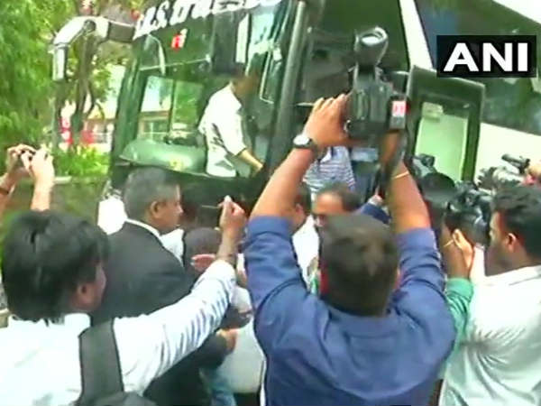 Why congress and Jds) mlas uses Sharma travels buses