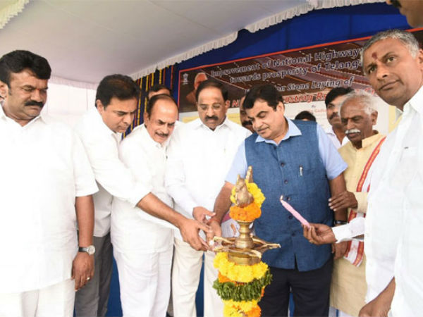Nitin Gadkari lays foundation stone for National Highway projects in Telangana