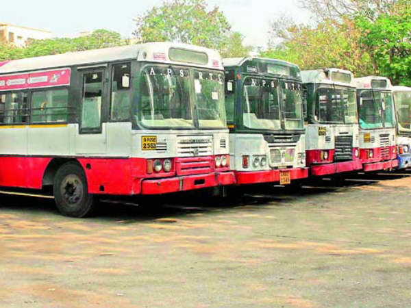 telangana RTC workers protest at Bus bhavan