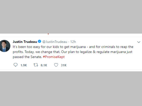 Canada becomes second nation in the world to legalize marijuana