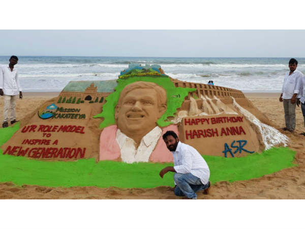KTR wishes on Minister Harish Rao Birthday: Attracted Sand Art at Puri