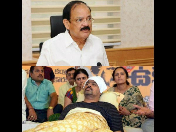 venkaiah naidu enquiries on cm rameshs health