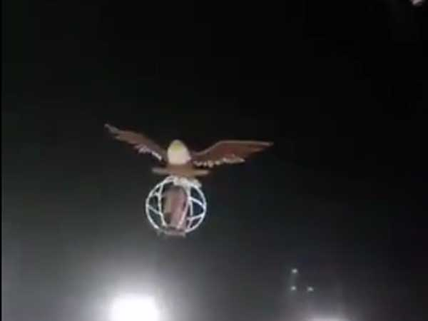 Indian Couple Makes Smashing Entrance In Giant Flying Bird Cage At Wedding & It Has To Be Seen