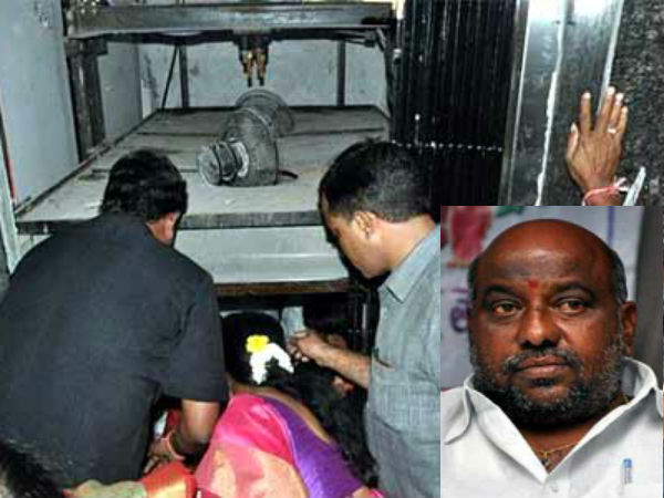 Private hospital lift collapses; Telangana Minister Jogu Ramanna has a narrow escape