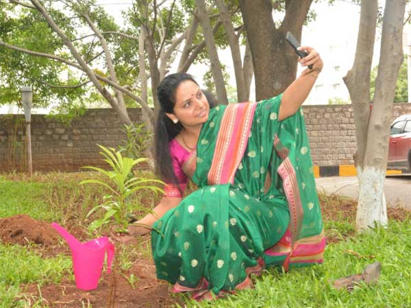 Haritha Haram: TRS MP Kavitha plants saplings, throws green challenge to 4 others