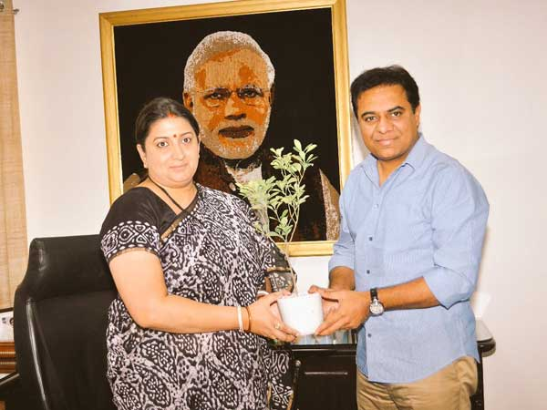 KTR meets Smriti Irani over Handloom Sector development in Telangana
