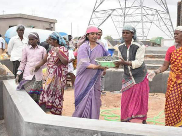 Minister Sunitha, worked as a laborer for Peruru Dam