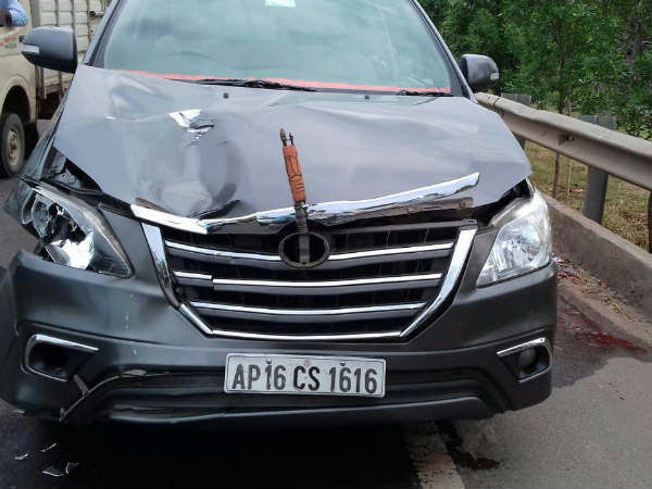 BJP MPs vehicle fatally knocks down woman in Guntur