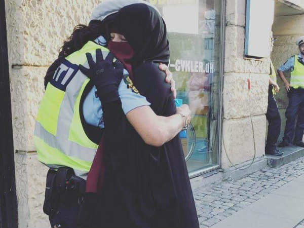 Photo of Danish policewoman and Muslim hugging at demonstration goes viral