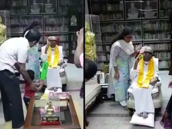 When Kalaignar Karunanidhi playing cricket with his grandson