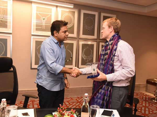 Telangana IT minister meets Whatsapp CEO Chris Daniels in Hyderabad