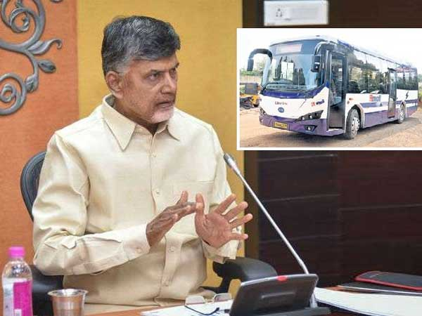 Buses should be good maintainance.. Accident areas must be identified: CM Chandrababu, the first e- bus on the capital roads