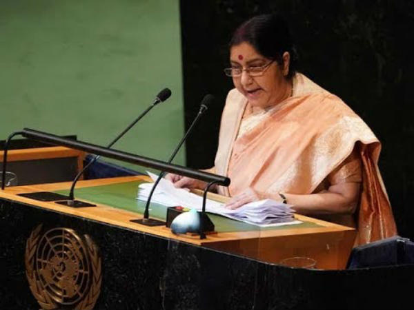 Strongly defends calling off talks: At UN, Sushma Swaraj tears into Pakistan malevolence, verbal duplicity