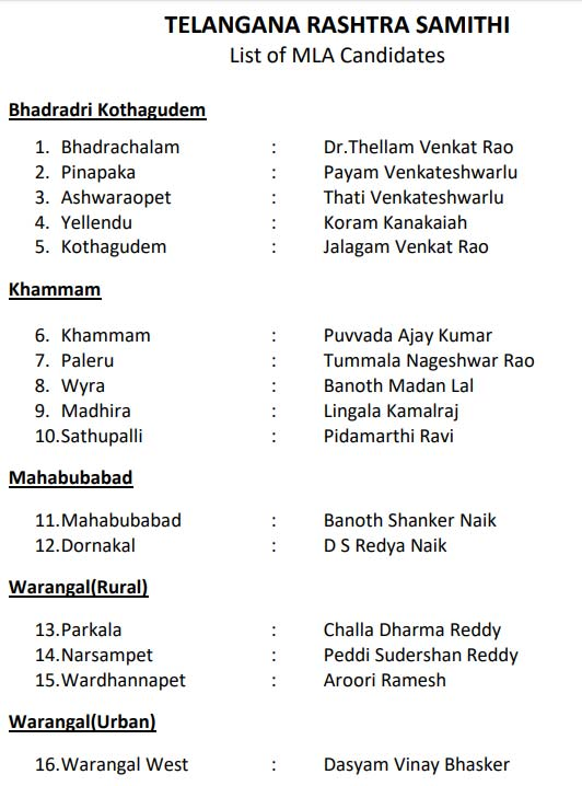 TRS announces list of 105 candidates for Telangana elections
