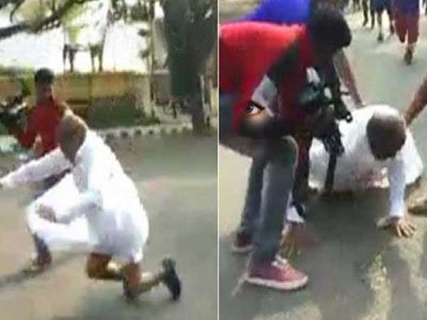 karnataka minister gt devegowda fell down in marathon run