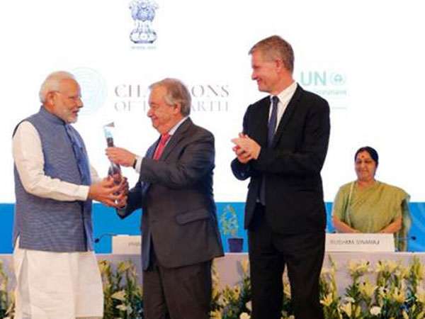 PM Modi recieves UN award from Secretary General Antonio Guterres