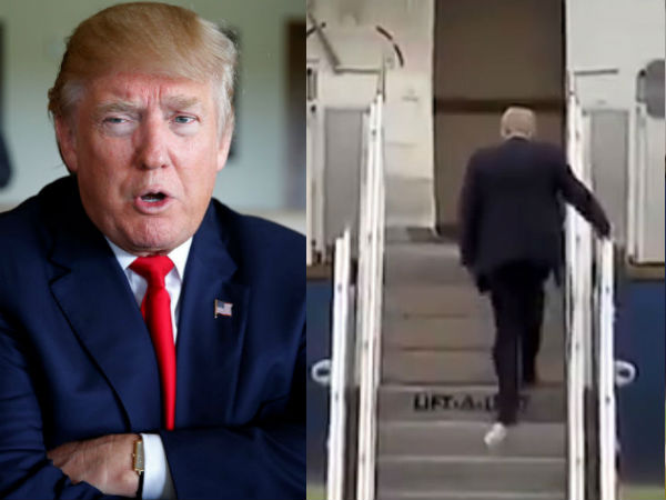Toilet paper stuck to Trump shoe..video goes viral
