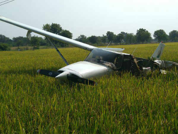 training flight falls in agricultural field at rangareddy district