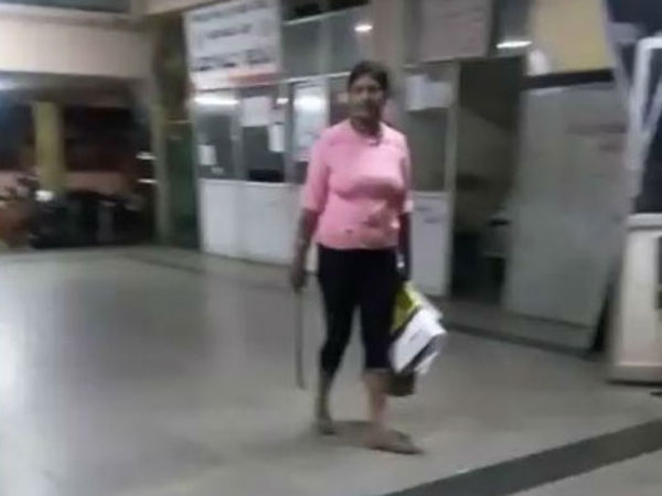 a woman was walking with a weapon in Chikmagalur bus stop