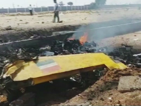 Army training aircraft collapsed in Yadadri district, pilot seriously injured